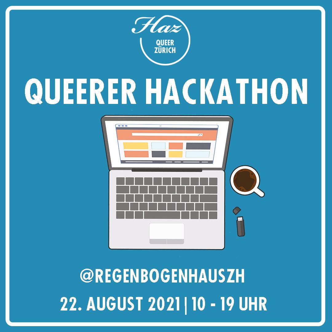 Queerer Hackathon (Notebook mit Kaffeetasse daneben und Text: @regenbogenhauszh, 22. August, 10-19 Uhr